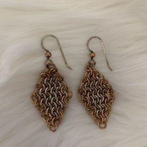 Silver gold earrings diamond shaped FREE TO BUNDLE